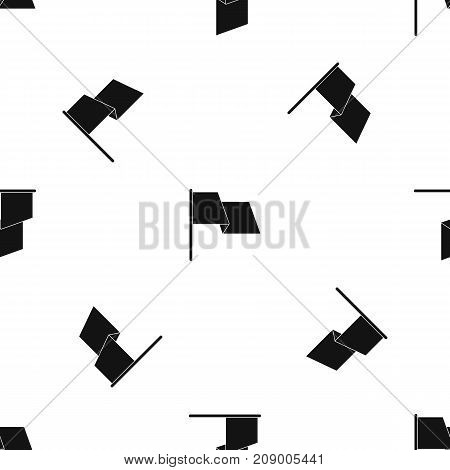 Waving flag pattern repeat seamless in black color for any design. Vector geometric illustration