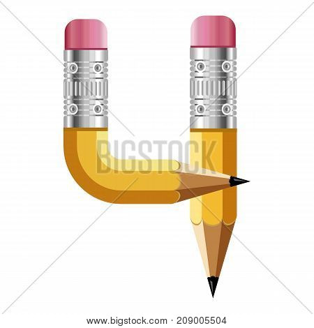 Number four pencil icon. Cartoon illustration of number four pencil vector icon for web
