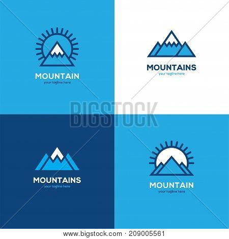 Set of four geometric linear mountain logo in blue and white colors. Winter sport symbol icon.