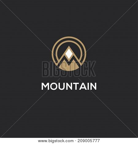 Abstract vector mountain logo with letter M in a shape of circle.