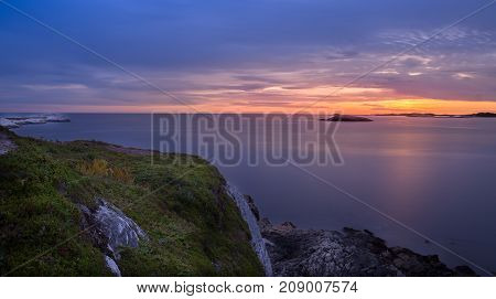Cloudy sunset over the Atlantic coast of Nova Scotia