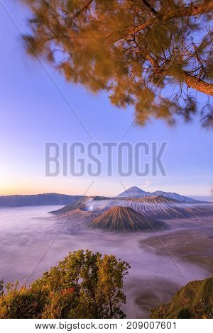 Mountain Bromo at East Java Indonesia. This active volcano is one of the popular destination in Indonesia