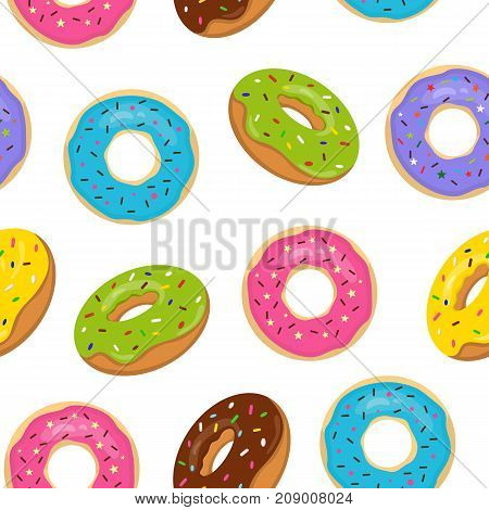 Vector seamless pattern with colorful glazed donuts. Sweet bakery with sprinkles on white background.