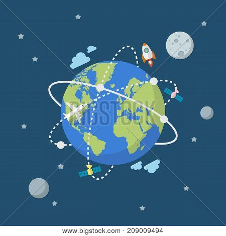 Global network connection in flat style. Vector illustration