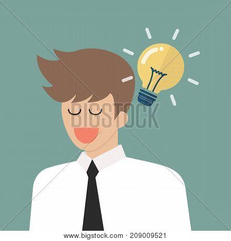Man thinking a new idea. Vector illustration