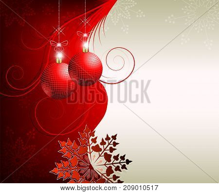 festive design with Christmas red balls, snowflakes and space for text