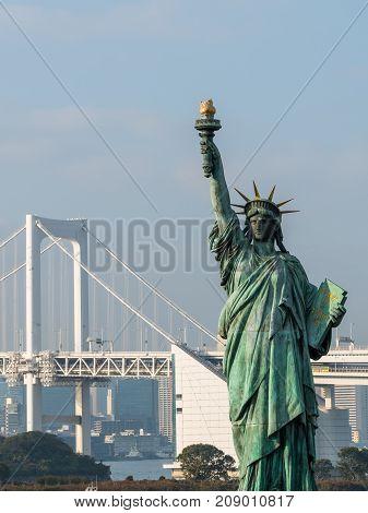 Statue Of Liberty In Odaiba, Japan.