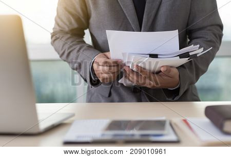 Businessman Working Reading Documents Graph Financial To Job Succes Analyze Document Plans