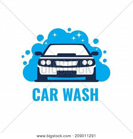 Car Wash Logo on light background. Clean car in bubbles and water. Template Design Vector.