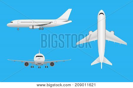 Plane vector. Airplane in all point of view. Airliner in front side and top on blue background.