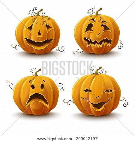 set of pumpkins for the holiday of Halloween. Vector