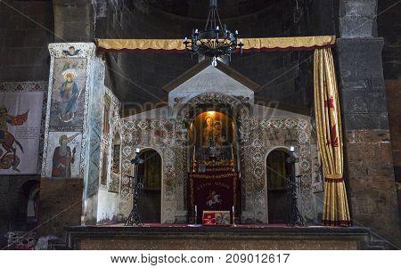 YEREVAN, ARMENIA - SEPTEMBER 25,2017 :Interior of ancient armenian monastery,Armenia.