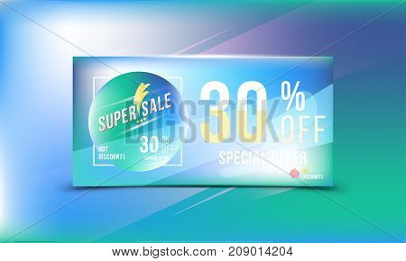 Special Offer 30 Discount In Bright Rectangular Poster Format And Flyer. Super Sale Template For Pri