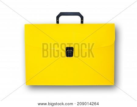 Briefcase icon vector business bag Yellow case design diplomat document isolated lock white