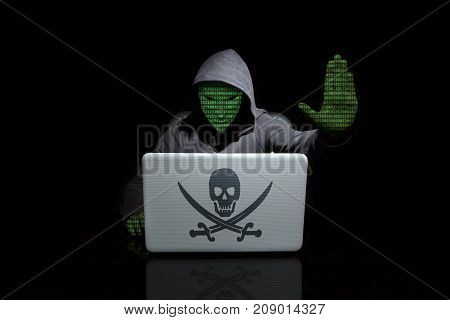 Anonymous With Digit Face With A Stop Hacking Gesture