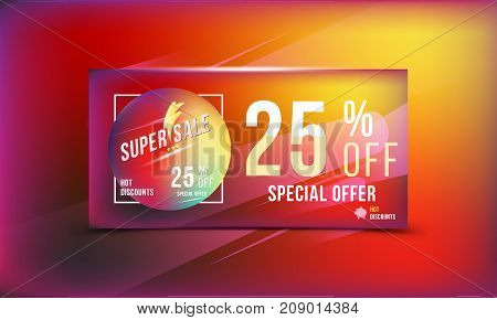 Special Offer 25 Discount In Bright Rectangular Poster Format And Flyer. Super Sale Template For Pri