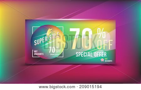 Super Sale 70 Discount Bright Rectangular Poster Format And Flyer. Template For Design Advertising A