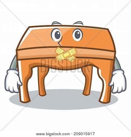Silent table character cartoon style vector illustration