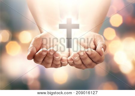 Human Hand With Shape Cross In Open Palm