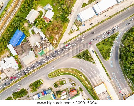 Aerial view from drone of T-junction at the exit and entrance to expressway (motorway) Thailand poster