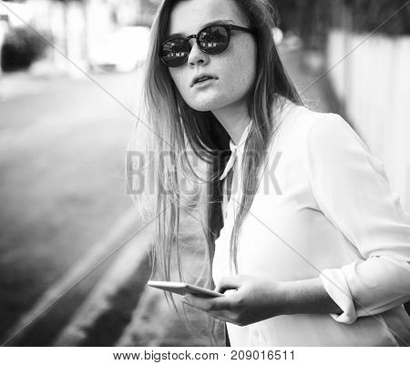 Girl Traveling Holiday Vacation Street Journey Concept