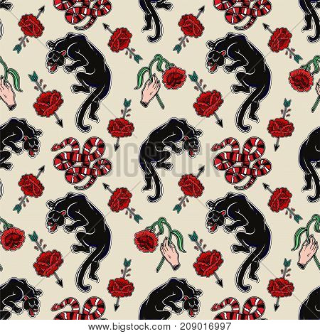 Seamless pattern with wild dangerous snake and black panther. Danger classic flash tattoo style elements. Design for textiles, print in comic style. Pop art. Fashionable vintage repeating background.