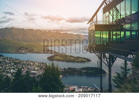 Queenstown, New Zealand In Panoramic View.