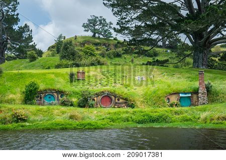 Hobbiton Movie Set For