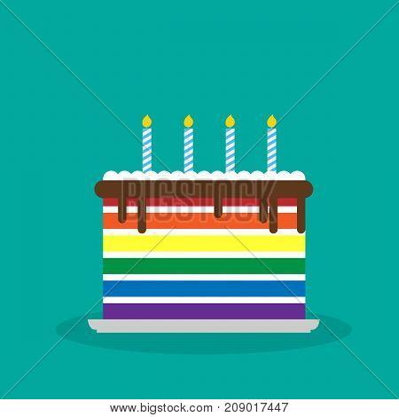 vector illustration of lgbt birthday cake. birthday card