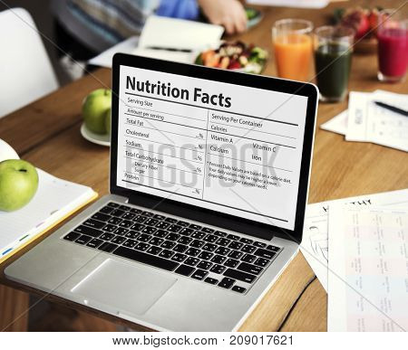 A computer screen is showing nutrition facts