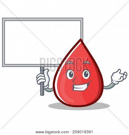 Bring Board Blood Drop Cartoon Mascot Character Vector Illustration