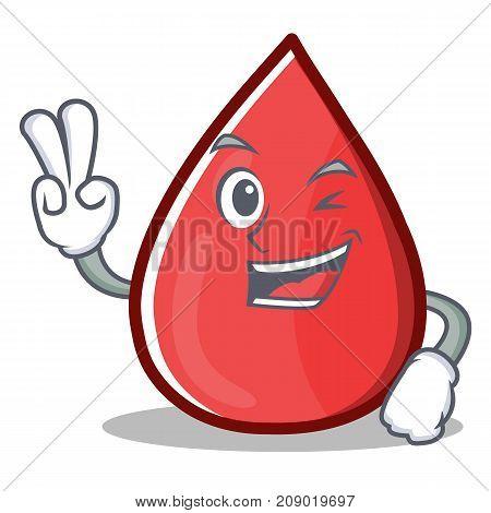 Two Finger Blood Drop Cartoon Mascot Character Vector Illustration