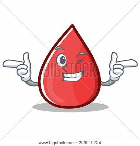 Wink Blood Drop Cartoon Mascot Character Vector Illustration