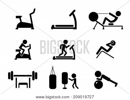 Set of Workout and Gym machines icons vector design