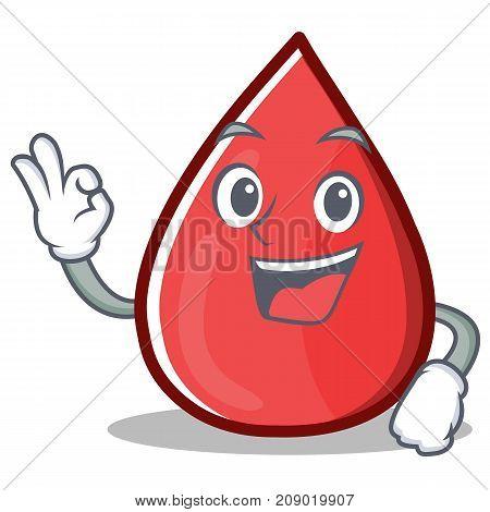 Okay Blood Drop Cartoon Mascot Character Vector Illustration