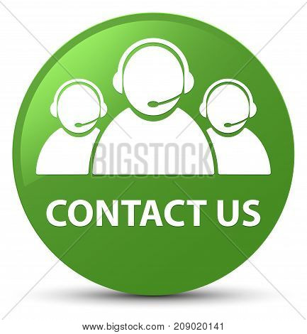 Contact Us (customer Care Team Icon) Soft Green Round Button
