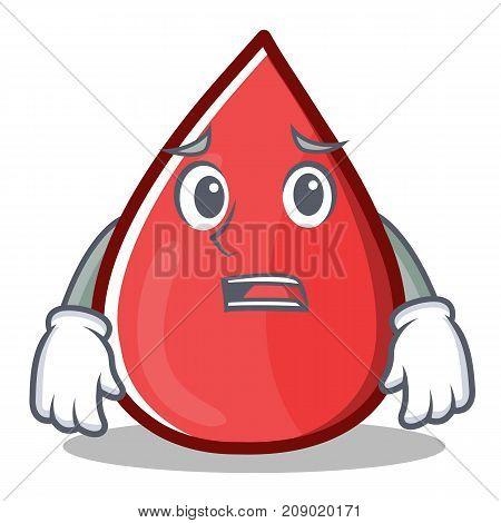 Afraid Blood Drop Cartoon Mascot Character Vector Illustration