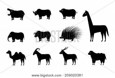 Set of animal icons in silhouette style vector design