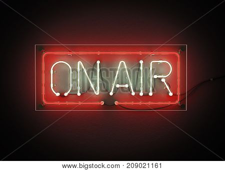 ON AIR sign made from neon alphabet on a black background. 3D illustration