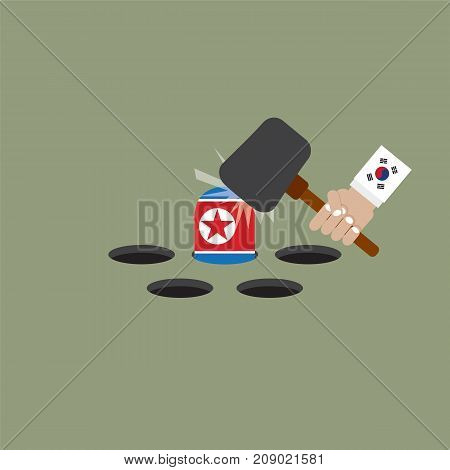 The President Of The South Korean Trying To Hit The North Korean Flag Vector Illustration. EPS 10