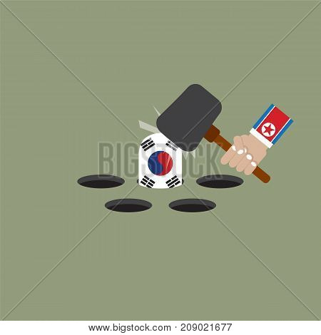 The President Of The North Korean Trying To Hit The South Korean Flag Vector Illustration. EPS 10