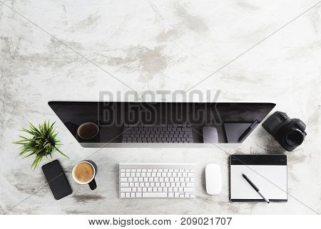 top view of modern device creative desk