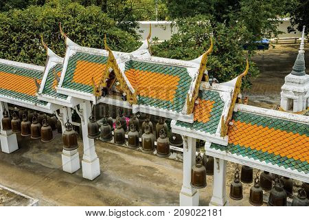 Row of bells in the pavilion of Phrabuddhabat temple Saraburi Province, Thailand