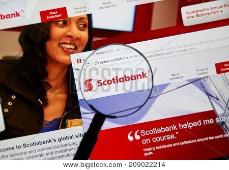 MONTREAL CANADA - OCTOBER 12 2017: Web page of Canadian bank Scotiabank. The Bank of Nova Scotia operating as Scotiabank French: Banque Scotia is a Canadian multinational bank.