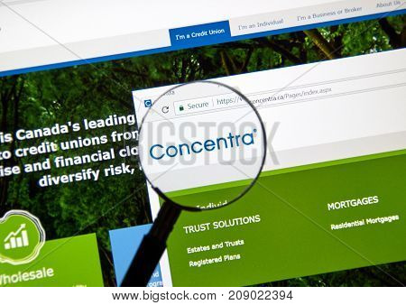 MONTREAL CANADA - OCTOBER 12 2017: Web page of a bank Concentra. Concentra is a Canadian wholesale bank and trust company providing financial and trust solutions to over 300 Canadian credit unions