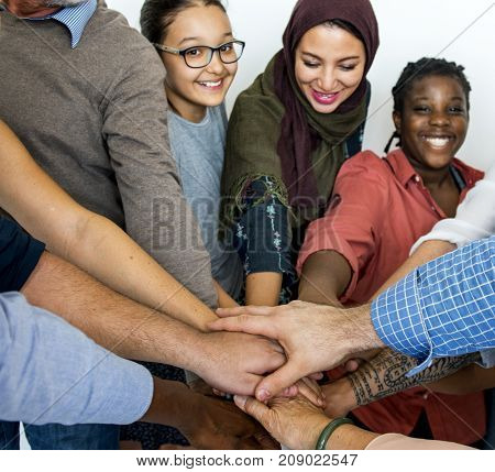 Happy diverse people united together