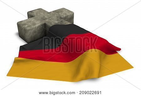 christian cross and flag of germany - 3d rendering