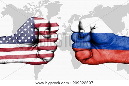 Conflict Between Usa And Russia - Male Fists