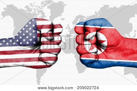 Conflict Between Usa And North Korea - Male Fists