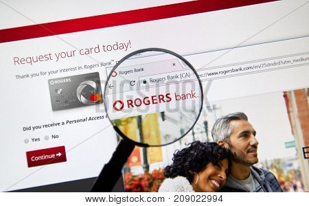 MONTREAL CANADA - OCTOBER 12 2017: Web page of Canadian bank Rogers Bank. Rogers Bank is a Canadian financial services company wholly owned by Rogers Communications.
